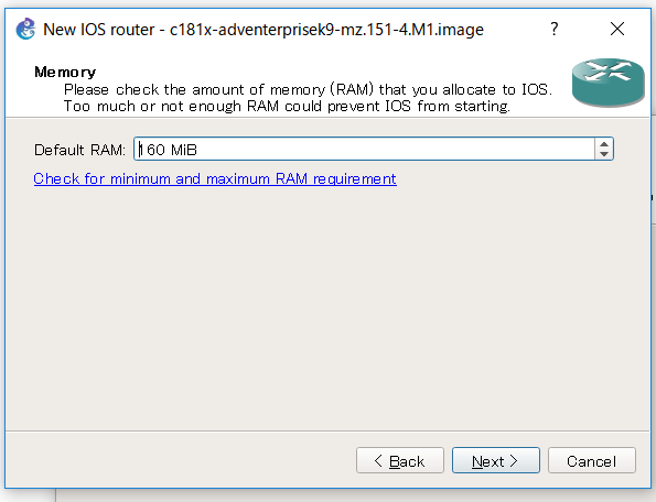 GNS3 default RAM