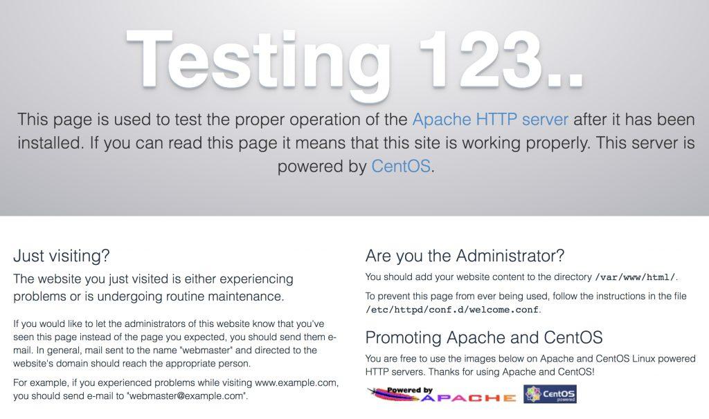 Apacheのテスト画面