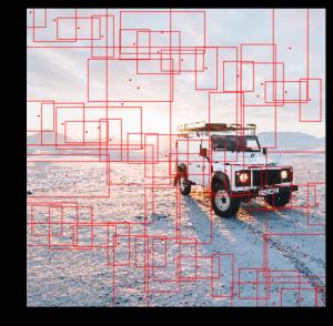 複数の赤い枠で覆われた車の画像