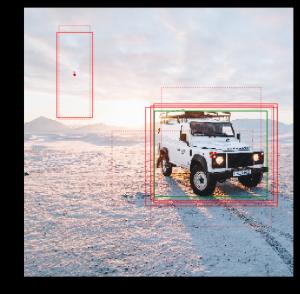 複数の赤い枠で囲われた車の画像