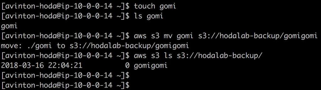 AWS CLIを使ってS3のバケットへデータを送信した結果