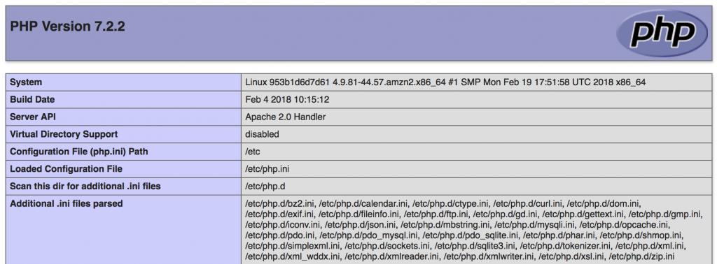 phpinfoの表示結果をブラウザから確認した画像