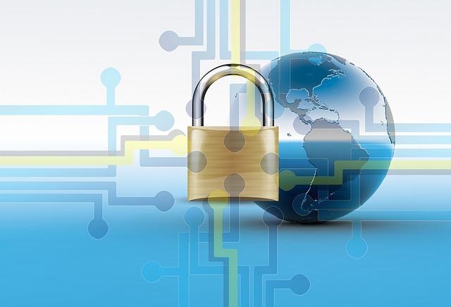 SSL通信による暗号化のイメージ-地球と通信網を背景に錠前が描かれている画像