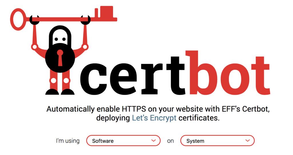 Certbotのwebページのトップ画像