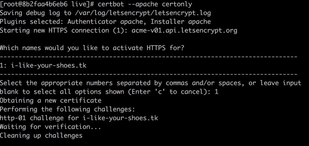 CertbotでSSL証明書を発行する様子